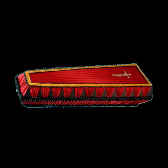 Гроб №8 (атлас) бордовый со взбитой постелью